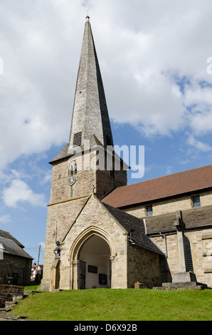 12th-century St. Mary's church in the market town of Cleobury Mortimer, renowned for its crooked spire - Stock Photo