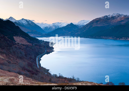 A view over Loch Duich from view point Carr Brae towards Five Sisters, Highland, Dornie, Scotland, United Kingdom, - Stock Photo