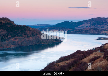 A view over Loch Duich from view point Carr Brae, Highland, Dornie, Scotland, United Kingdom, Europe. - Stock Photo