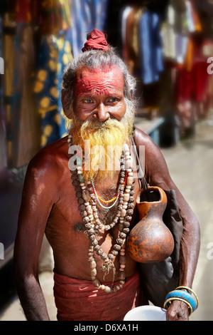 Holy Man - Sadhu, Indian Hindu Holy Man with beard, portrait, street of Pushkar, Rajasthan, India - Stock Photo