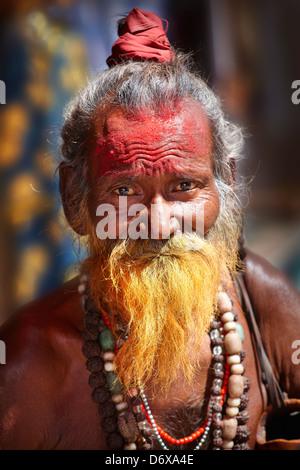 Sadhu, India Hindu Holy Man with beard, portrait, street of Pushkar, Rajasthan, India - Stock Photo