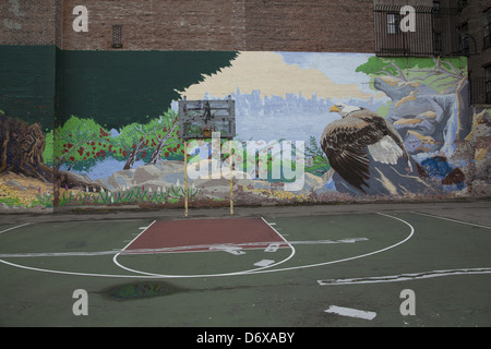 Neighborhood mural and basketball court lower east side for Basketball court mural