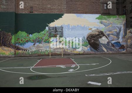 Neighborhood mural and basketball court lower east side for Basketball court mural