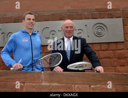 Manchester, UK. 24th April 2013. Nick Matthew, twice World Champion, three times British Open Champion and five - Stock Photo