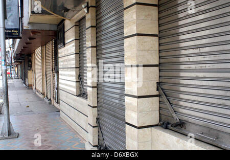 Karachi, Pakistan. April 24, 2013. Shops seen closed during strike called by Muttahida Qaumi Movement (MQM) against - Stock Photo