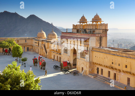 Amber Fort - landscape with elephants on the Jaleb Chowk courtyard and main gate of Amber Fort, Jaipur, Rajasthan, - Stock Photo