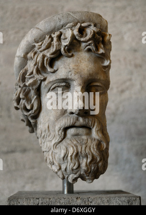 Greek Art. Head from a statue of Asclepius, the god of healing. Roman sculpture after original of about 420 BC.