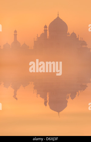 Skyline of Taj Mahal at sunrise, Agra, Uttar Pradesh, India - Stock Photo