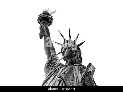 Statue of Liberty, Liberty Island, New York City, New York, United States of America, USA, isolated on white background - Stock Photo