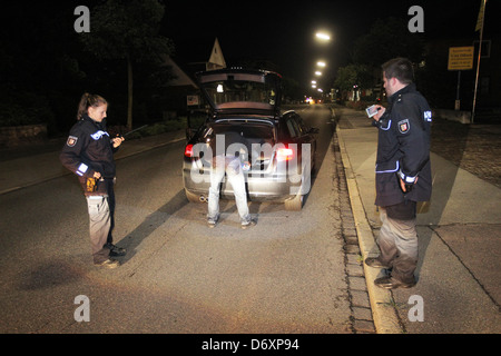 Flensburg, Germany, at night on patrol with the police Flensburg - Stock Photo