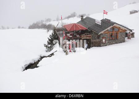 Skiing in Meribel, France - Stock Photo