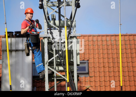 Handewitt, Germany, employee of an electrical company dismantled a transformer - Stock Photo