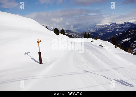 Well maintained ski route. Skiing in Meribel, France - Stock Photo