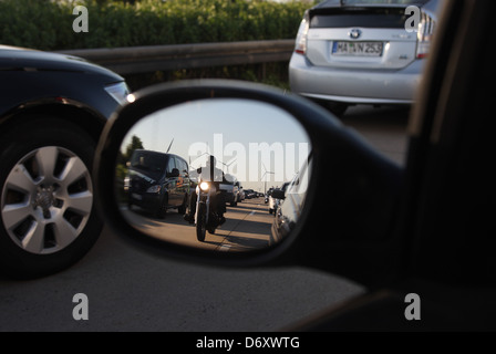 Nuernberg, Germany, jam on the A9 in the side mirror - Stock Photo