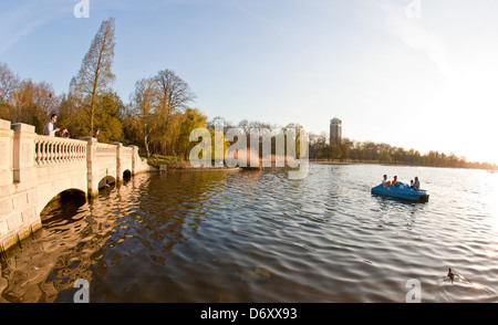 Boating On The Serpentine Hyde Park London UK - Stock Photo