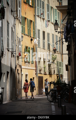 Nice, France, narrow alley in the Old Town - Stock Photo