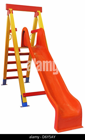 Children's slides of wood and plastic isolated on white - Stock Photo