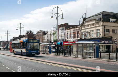 Stagecoach bus approaching Stockton-on-Tees high street bus station north east England UK - Stock Photo