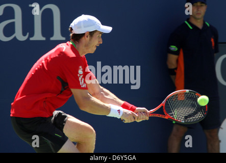 Andy Murray, GBR plays against John Isner, USA, Friday September 09, 2011, on Day 12 of US Open Tennis Tournament, - Stock Photo