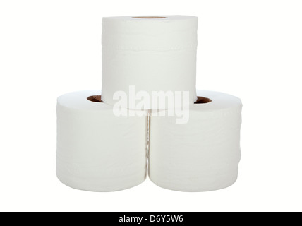 Three white toilet rolls isolated on a white background - Stock Photo