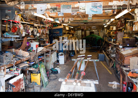 Richmond Bridge Boathouse Interior - Boat Building Workshop - London UK - Stock Photo