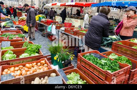 Market 'Des Lices', Rennes 35000, Ille-et-Vilaine Bretagne Brittany, France - Stock Photo