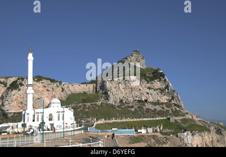 Mosque on a hill, Ibrahim-Al-Ibrahim Mosque, Europa Point, Gibraltar, Spain - Stock Photo