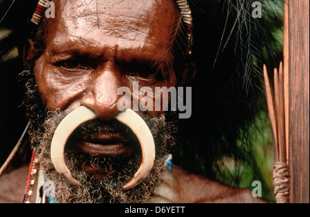 Portrait of an indigenous man with a curved bone in his nose piercing, Irian Jaya, New Guinea, Indonesia - Stock Photo