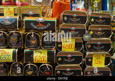 Goose liver in tins Nagycsarnok the Great Market Hall central Budapest Hungary Europe - Stock Photo
