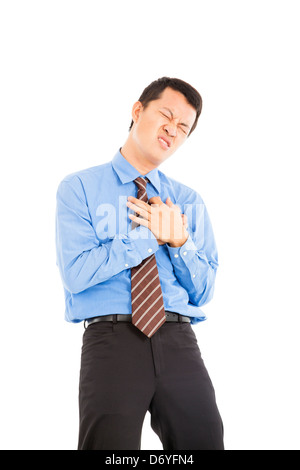 young businessman with heart attack - Stock Photo