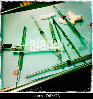 Close up of dental tools on tray