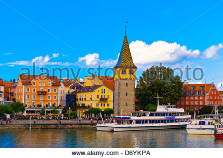 Harbor, Lindau on Lake Constance (Bodensee), Bavaria, Germany - Stock Photo