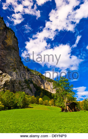 Lauterbrunnen Valley, Canton Bern, Switzerland - Stock Photo