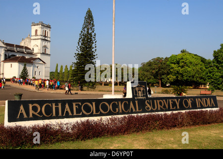 Archaeological Survey of India sign in front of the Se Cathedral, Old Goa, India - Stock Photo