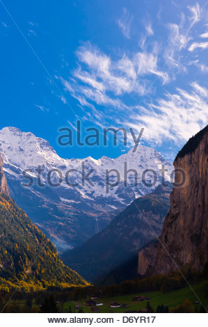 Lauterbrunnen Valley in the Swiss Alps, Canton Bern, Switzerland - Stock Photo