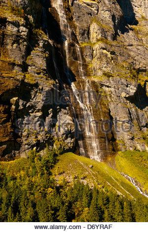 Murrenbachfalls, near Stechelberg, Swiss Alps, Canton Bern, Switzerland - Stock Photo