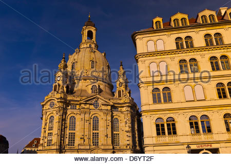 Frauenkirche (church) and the Neumarkt (New Market district), Dresden, Saxony, Germany - Stock Photo