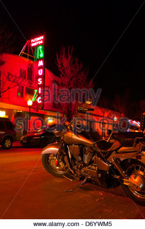 A Honda Shadow aero motorcycle, First Friday art walk in the Tennyson Street Cultural District, Denver, Colorado - Stock Photo