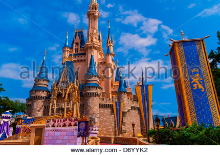 Cinderella Castle, Magic Kingdom, Walt Disney World, Orlando, Florida USA - Stock Photo