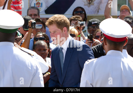 Britain's Prince Harry meets dignitaries at the opening of the Queen's Diamond Jubilee Exhibition in Rawson Square in Nassau, Bahamas on Sunday (04Mar12). The Prince is on a week-long tour through Central America and the Caribbean acting as an ambassador for Queen Elizabeth II as part of her Diamond Jubilee year. Nassau, Bahamas - 04.03.12 Stock Photo