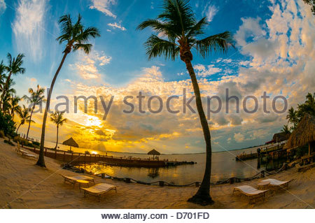 Sunset, Kona Kai Resort, Key Largo, Florida Keys, Florida USA - Stock Photo