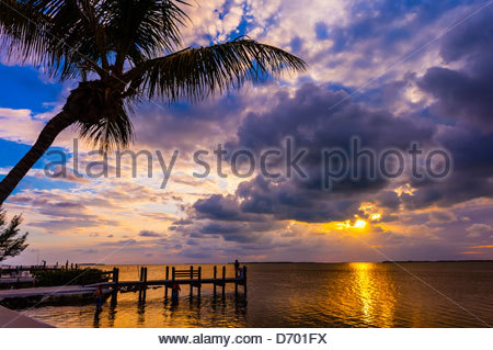 Sunset, Key Largo, Florida Keys, Florida USA - Stock Photo