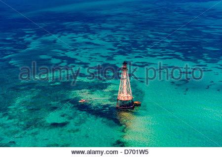 Aerial View, Alligator Light (lighthouse), Islamorada Key, Florida Keys, Florida USA - Stock Photo
