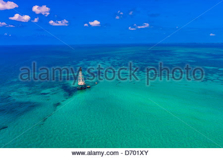 Aerial View, Alligator Light (lighthouse), Islamorada Key, Florida Keys, Florida USA - Stock Photo