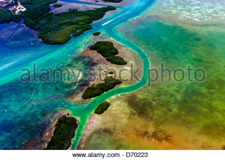 Aerial View, Florida Keys, Florida USA - Stock Photo