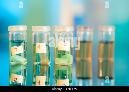 Three samples in plastic vials for microscopy and biopsy tissue . biological laboratory - Stock Photo