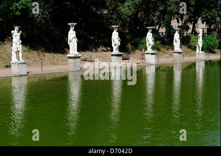 Villa Adriana. Tivoli. Italy. View of copies of the caryatids from the Athenian Erechtheion flanked by silenus figures - Stock Photo