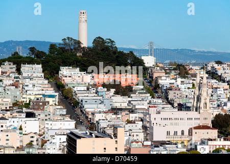 Coit Tower in Pioneer Park with the North Beach and Telegraph Hill Neighborhoods, San Francisco, CA - Stock Photo