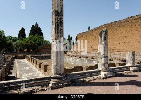 Villa Adriana. Tivoli. Italy. View of the remains of the large colonnaded courtyard or Peschiera of the winter palace. - Stock Photo