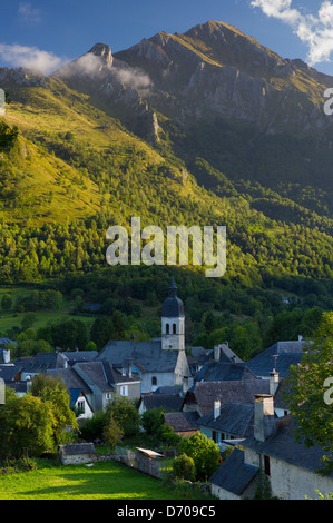 Arrens Commune and the Chapel of Pouey-Laun in Val D'Azun, in the Pyrenees National Park, France - Stock Photo